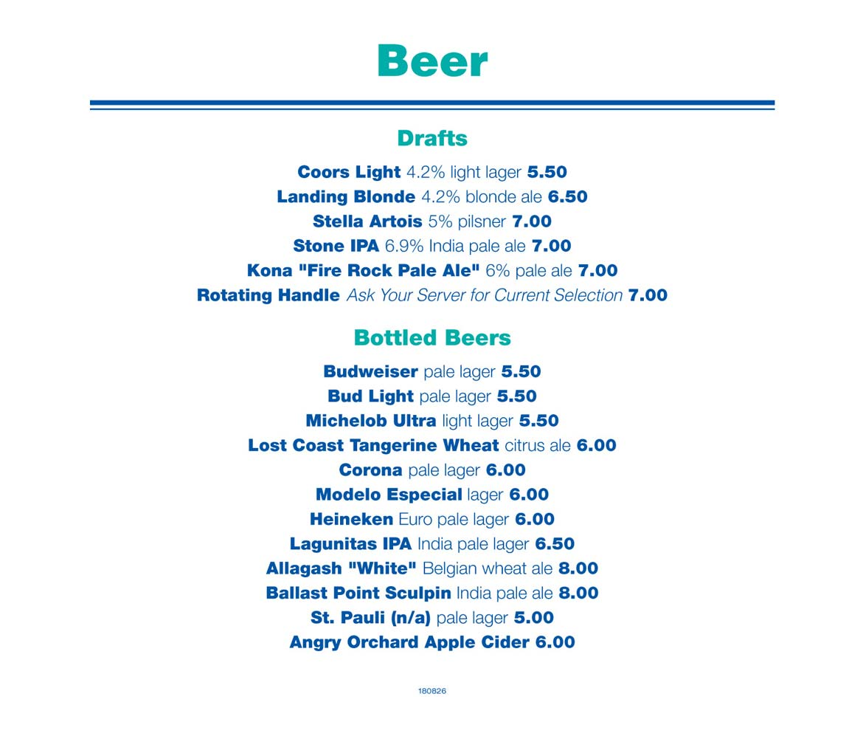 Beer list - Newport Landing