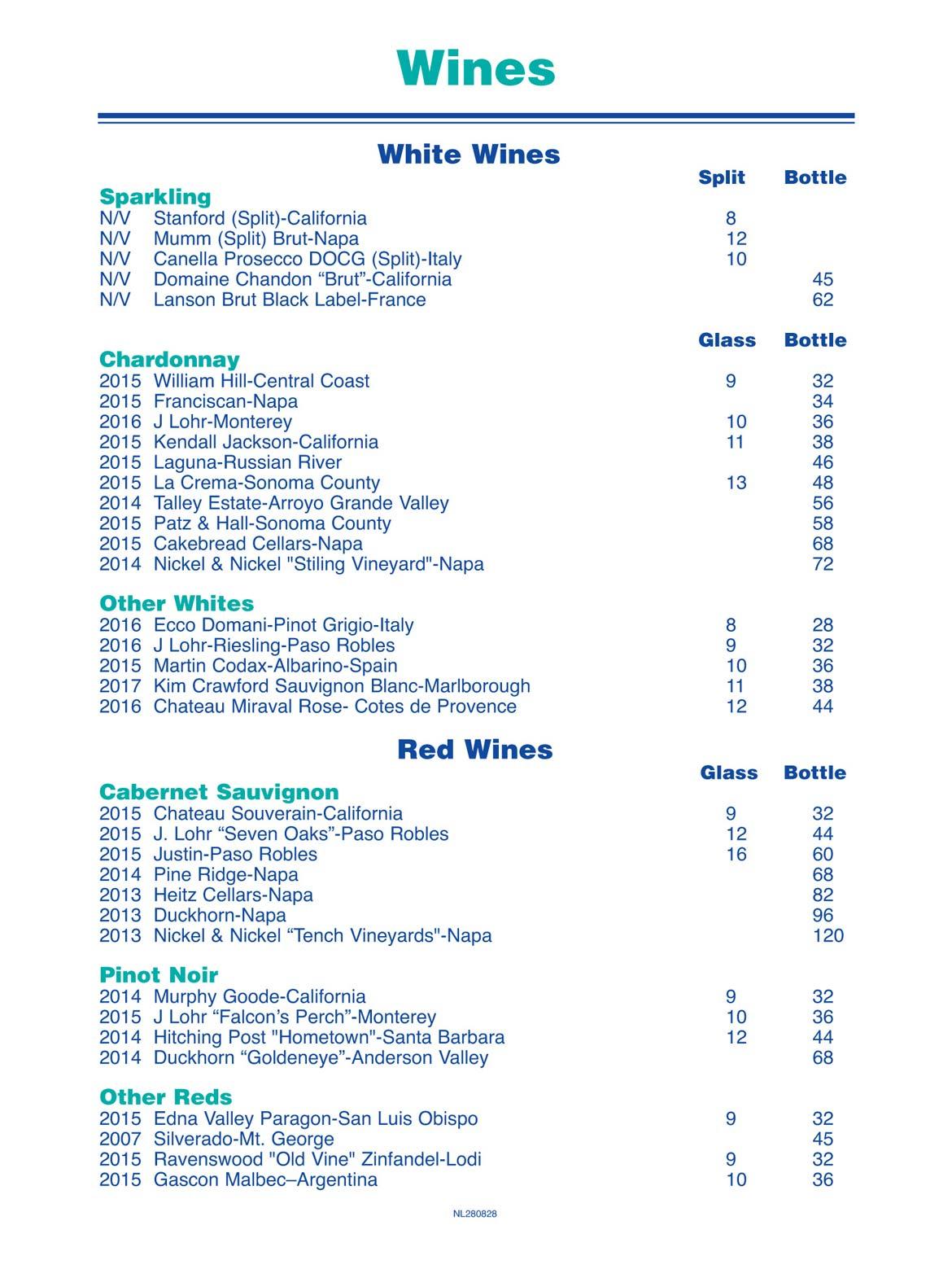 Wine list - Newport Landing