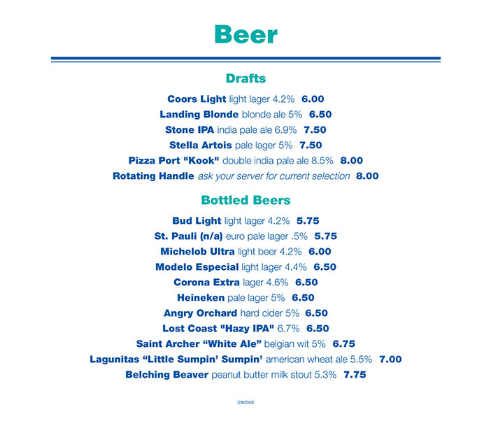 Beer list - Newport Landing