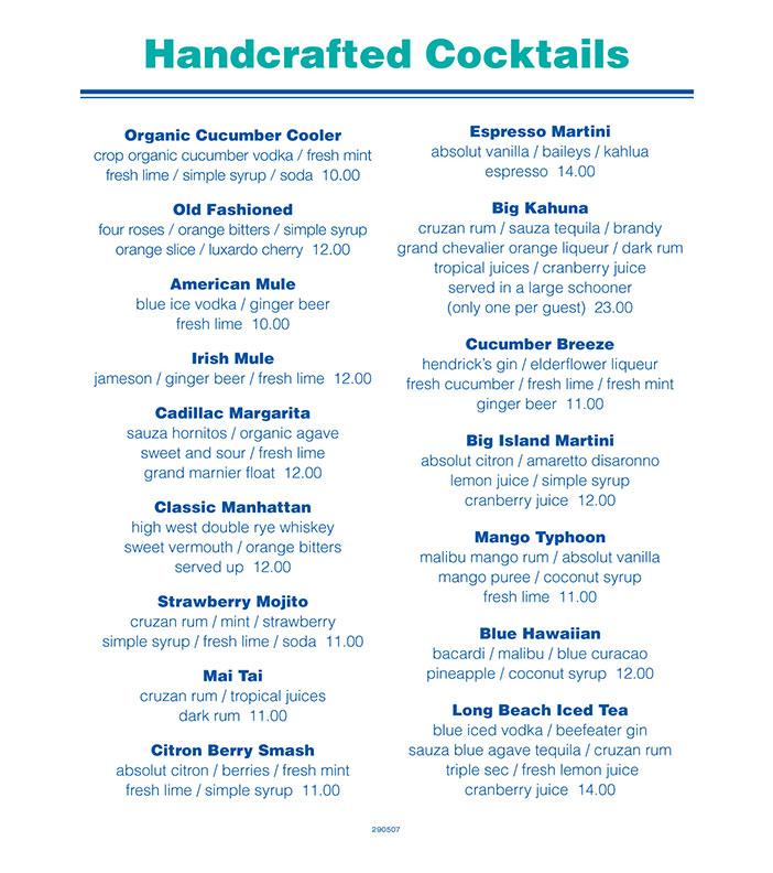 Drink list - Newport Landing
